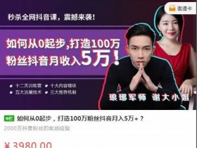 短视频运营《从零开始打造100万粉丝抖音月入5万+》教程完整版